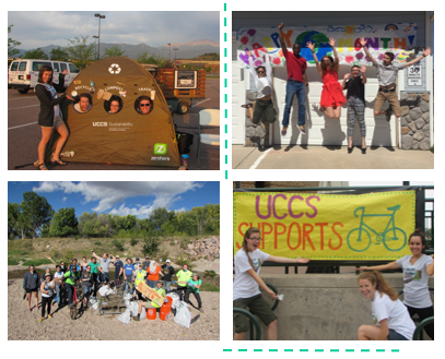 Pictures about recycling, earth month, and uccs sports