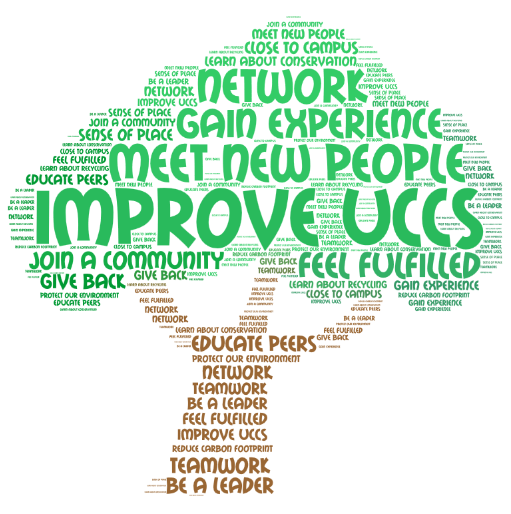 Word Cloud describing all the reasons to volunteer in our office